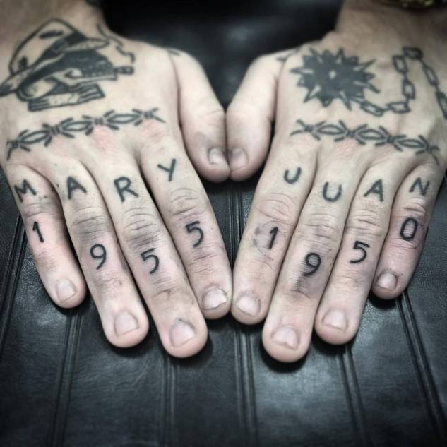 Tattoo on the fingers of the man - dates