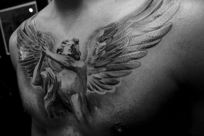 A spectacular splendid angel tattoo on the chest