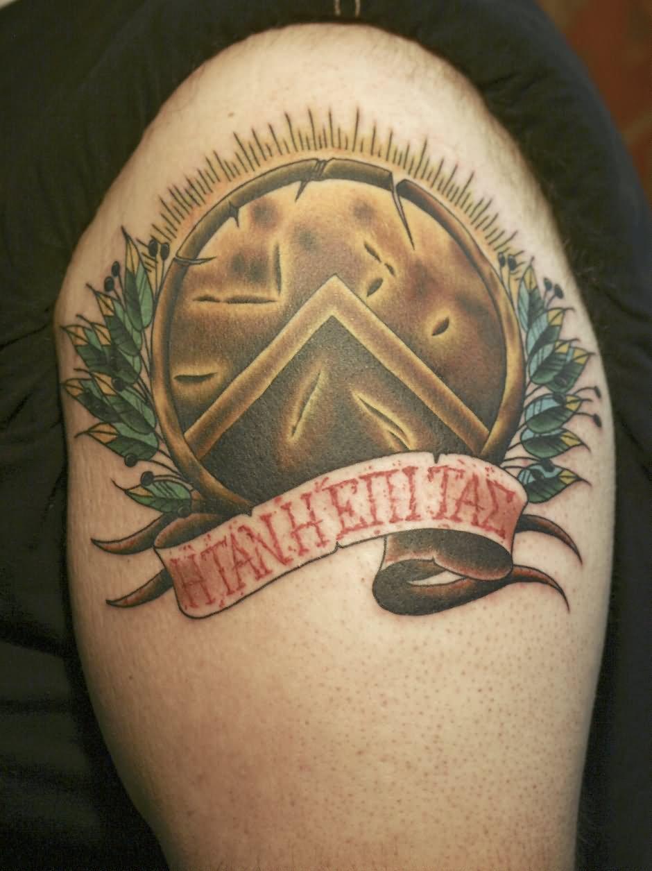 Black Spartan Shield Tattoo