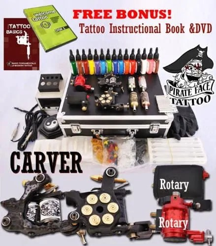 CARVER Tattoo Kit with 4 Machine Guns and Power Supplies