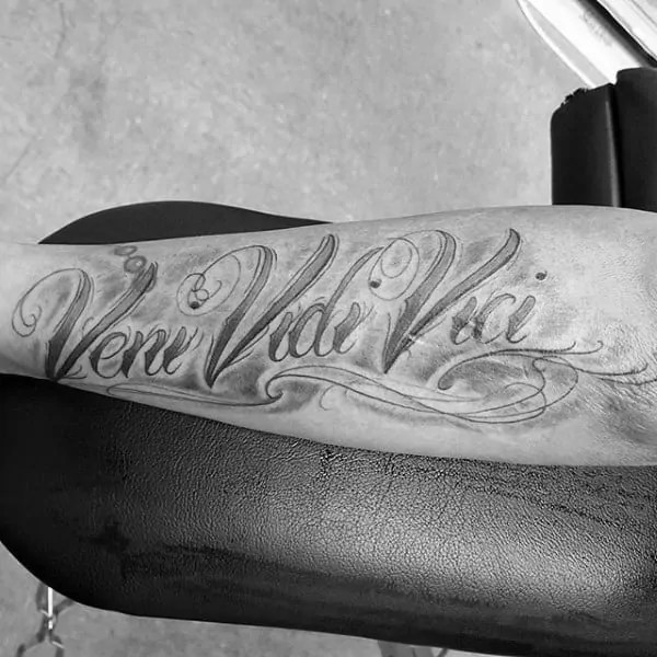 amazing veni vidi vici phrase tattoo