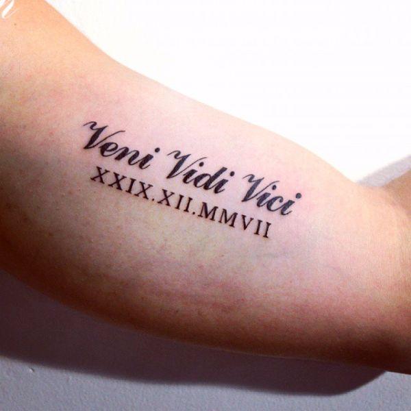roman numerals veni vidi vici tattoo design
