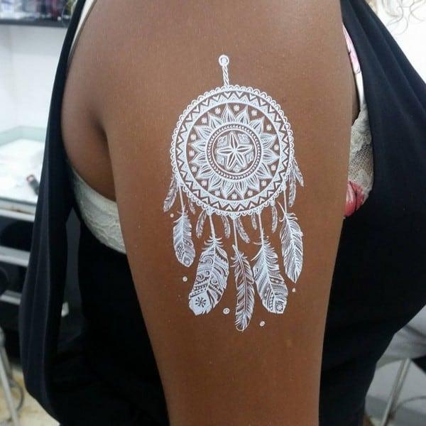 Dreamcatcher White Ink Tattoo on Dark Skin