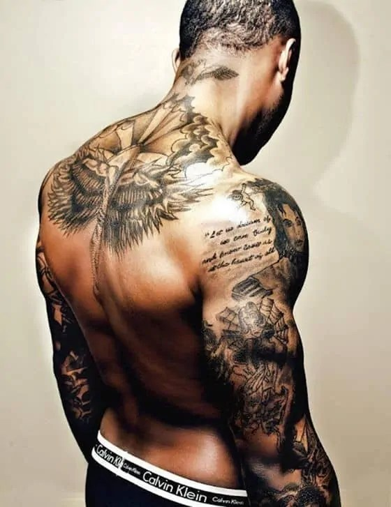 Wings and Scripture Scrolls Tattoo for Men