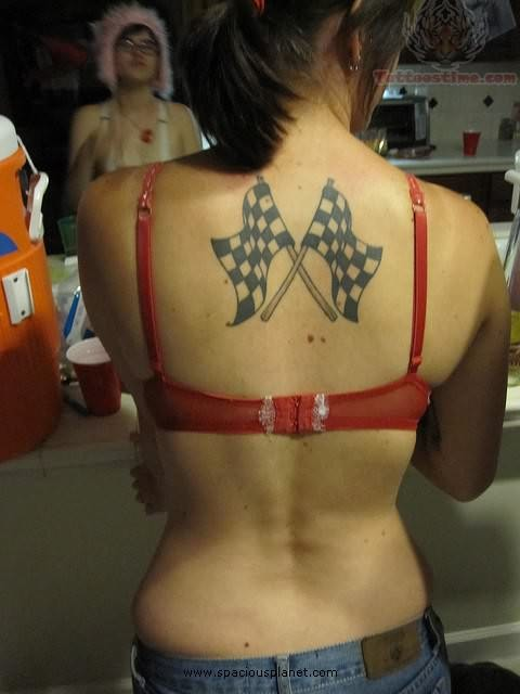 Sports Flags Tattoos On Back