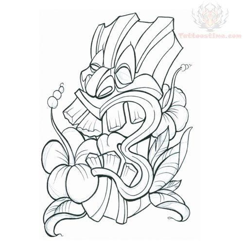 tiki mask tattoo design