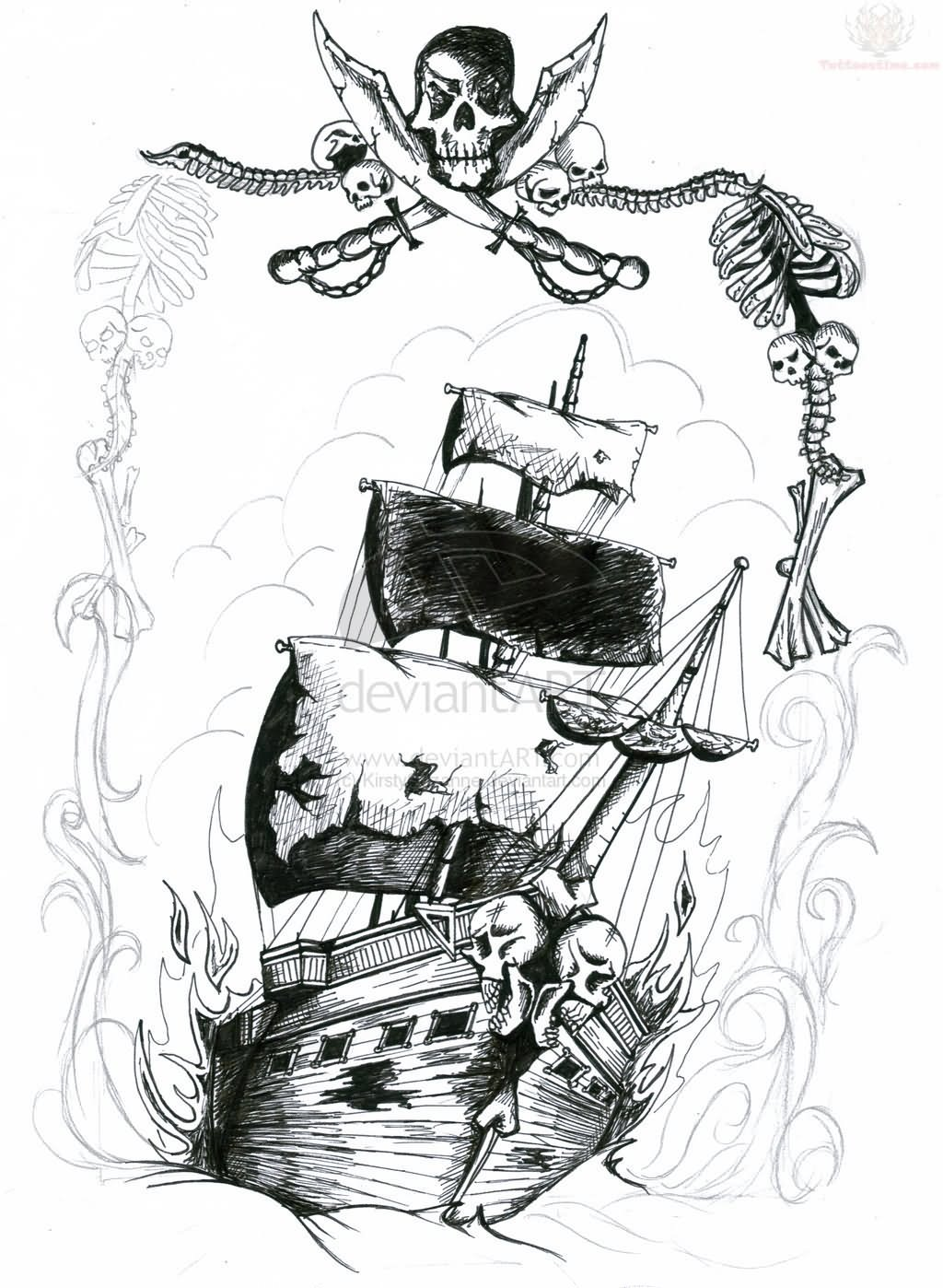 Grey Ink Pirate Ship And Skull Tattoo Design