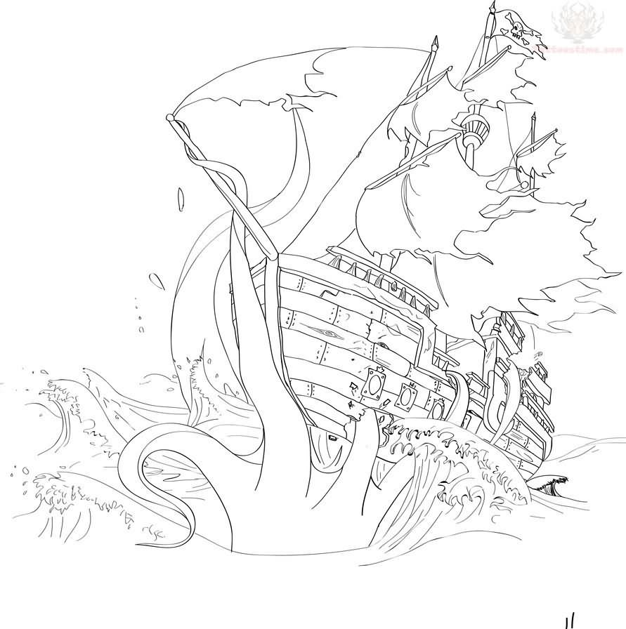 show me more sunken pirate ship colouring pages - Sunken Pirate Ship Coloring Pages