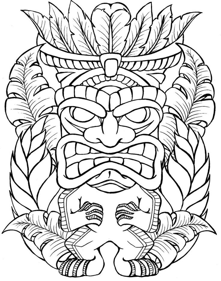 outline flower and tiki tattoo design