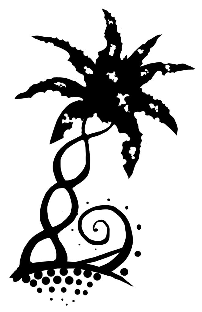 Small Black Palm Tree Tattoo On Leg