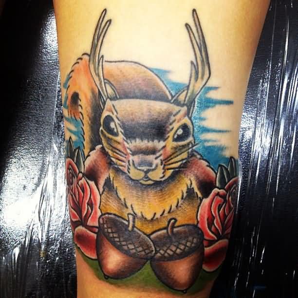 Squirrel Nuts Reaching Tattoo