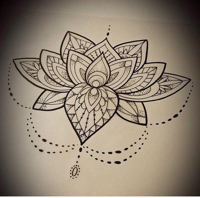 Black Mandala Lotus Flower Tattoo Design