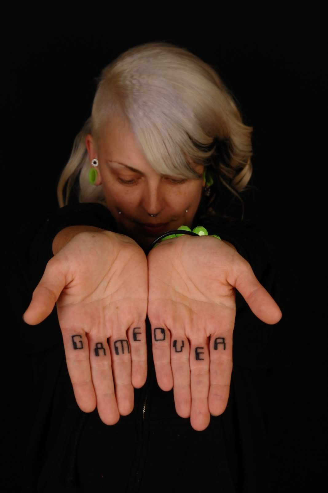 Game Over Tattoo On Fingers