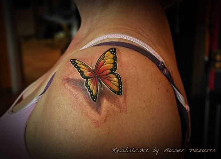 Tattoo 3D Schmetterling Schulter