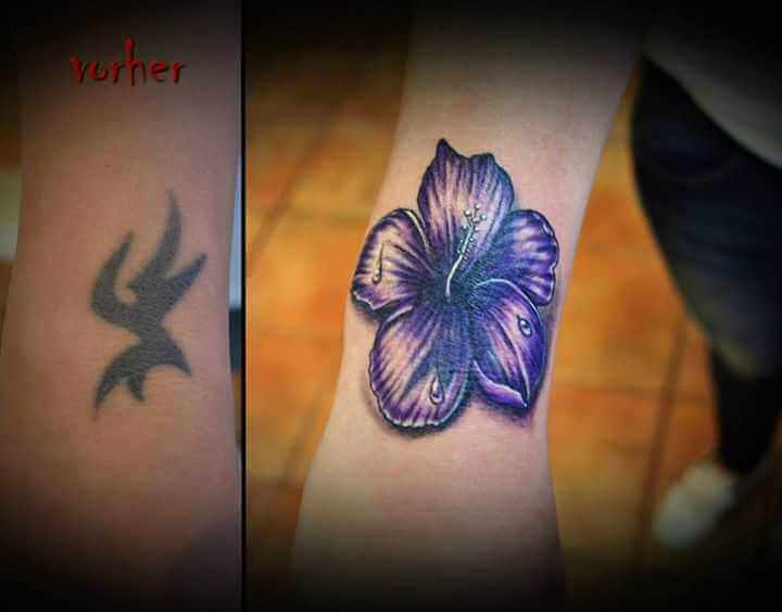 Tattoo Cover up Unterarm Tattoo Blume