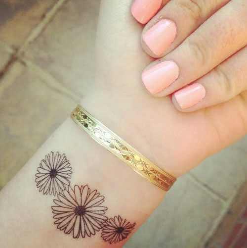 Tattoo drei Blumen Handgelenk