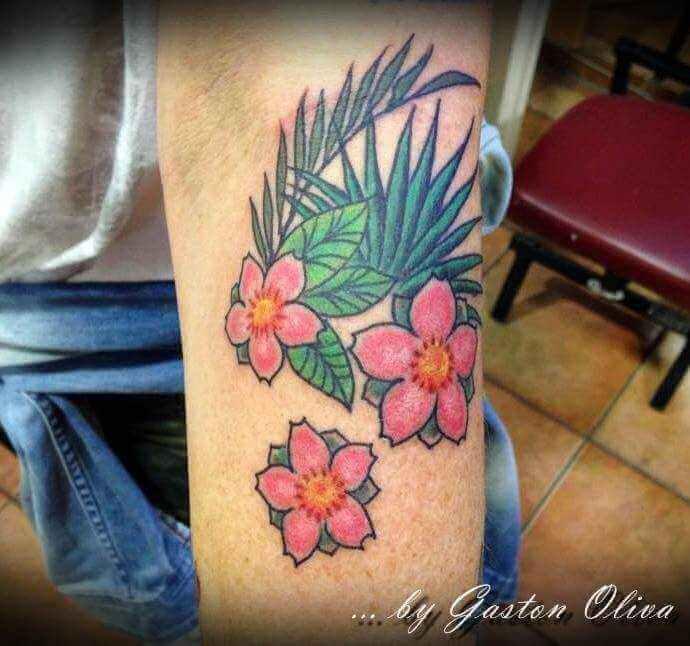 Tattoo drei pinke Blumen