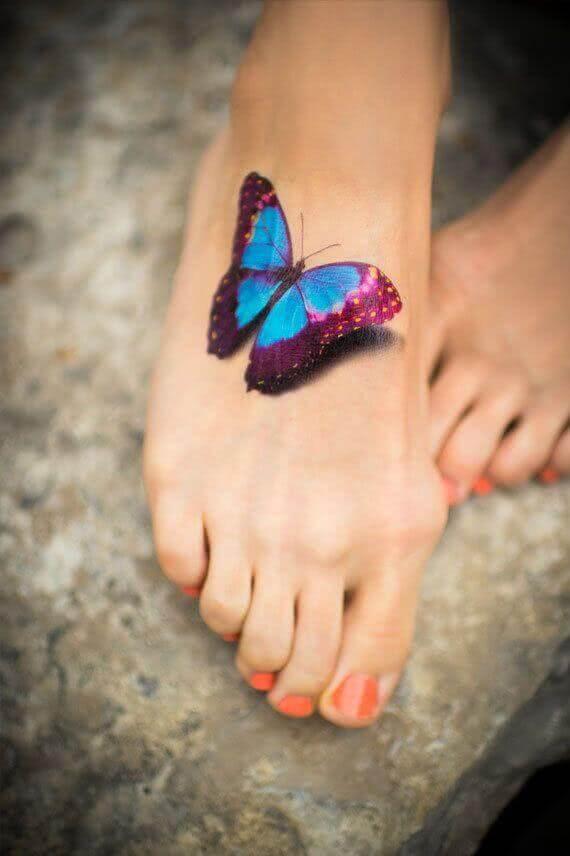 Tattoo 3D Schmetterling farbig