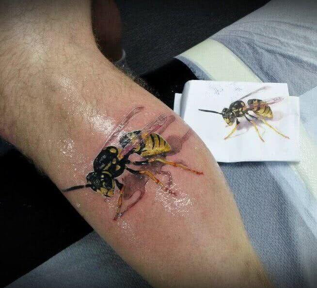 Tattoo Biene in 3D