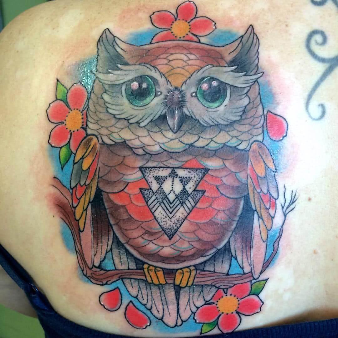 Tattoo Bunte Eule