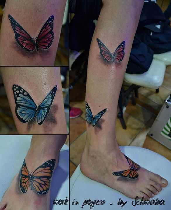 Tattoo Drei Schmetterlinge