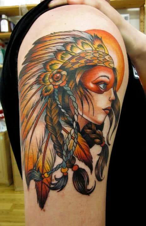 Tattoo Indianer Frau mit Häuptlingskrone