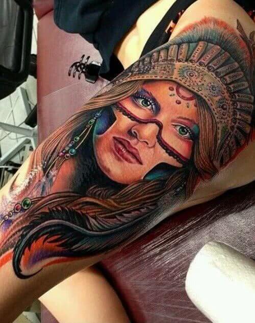 Tattoo Indianerin Gesicht