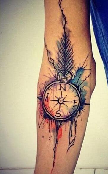 Tattoo Kompass mit Wasserfarbe