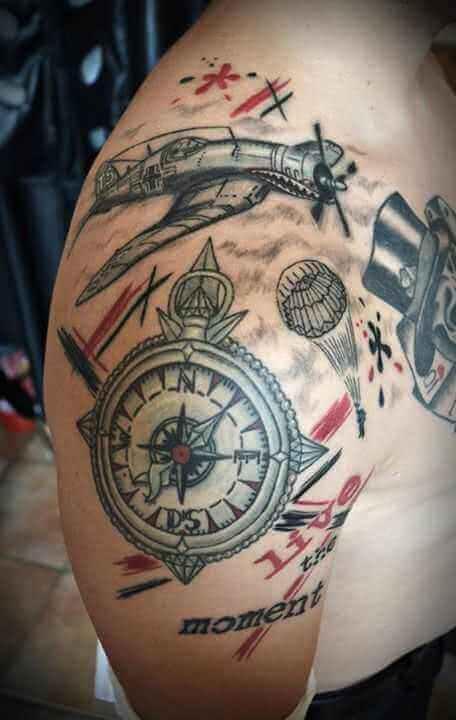 Tattoo Kompass – Stuka – Fallschirmspringer