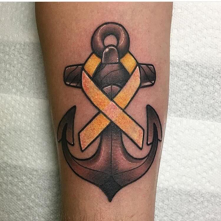 Tattoo Oldschool Anker mit Schleife