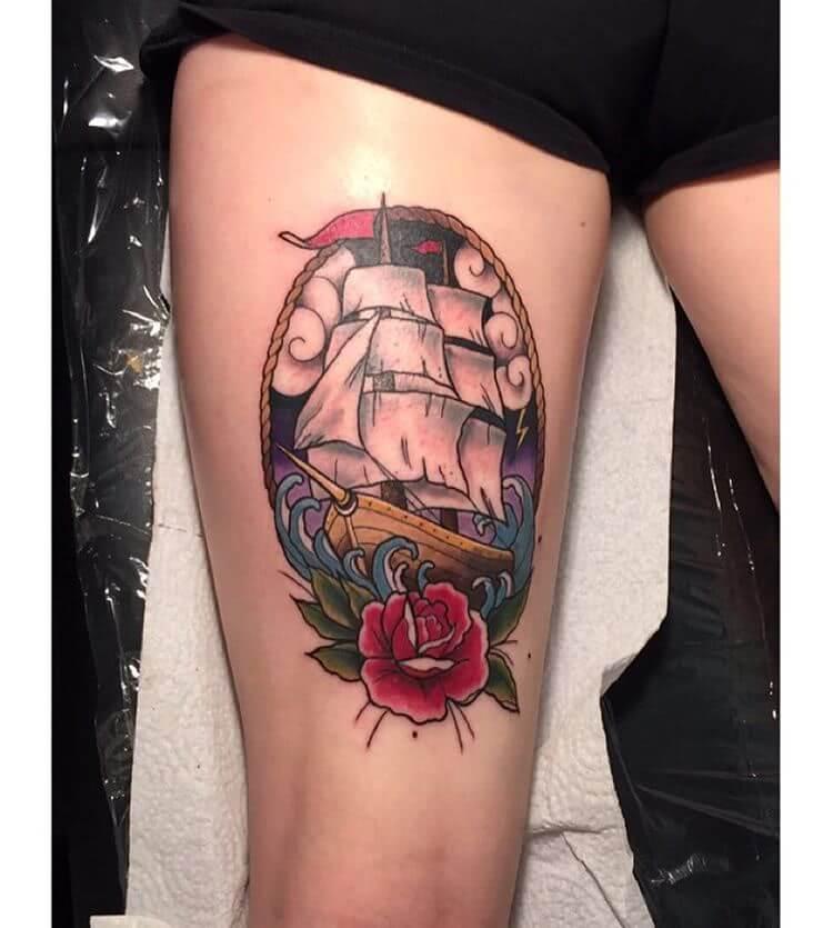 Tattoo Oldschool Schiff und Rose