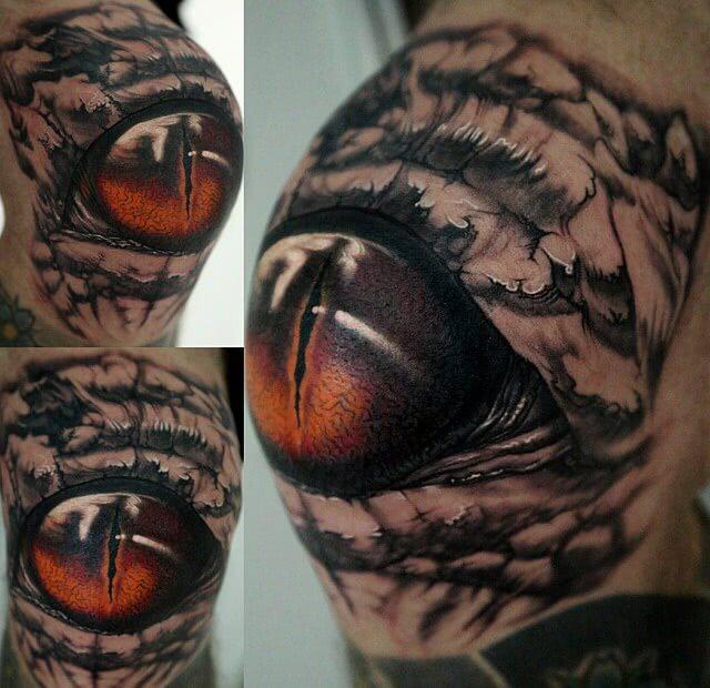 Tattoo Realistisches Auge auf Knie