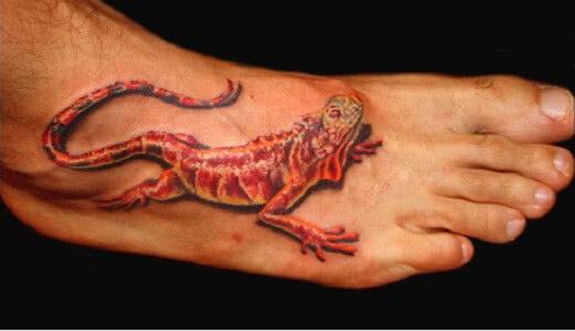 Tattoo Rote Echs auf dem Fuss