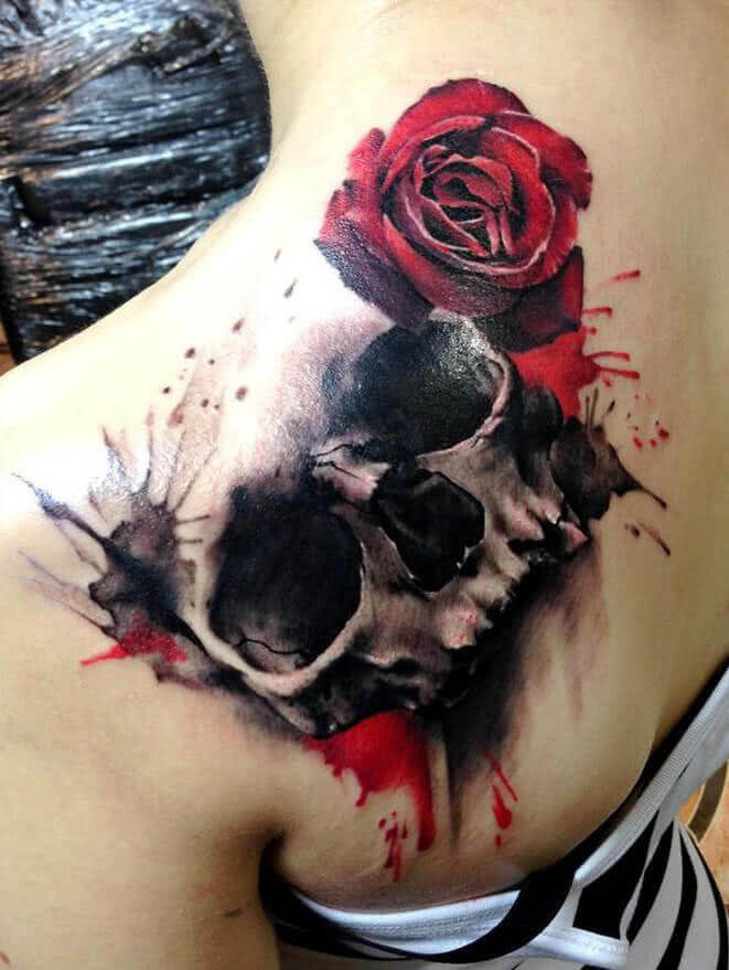Tattoo Totenkopf mit Rose