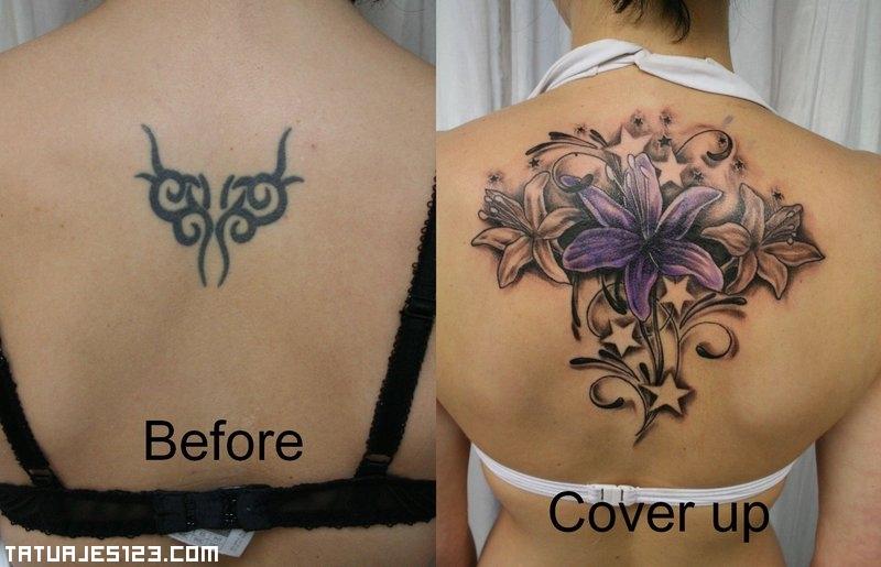 Cover Up Con Estrellas Y Flores Tatuajes 123
