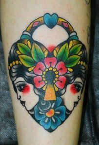Candado con Caras de Mujer, Flor, Corazón