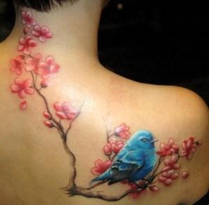 Ave Azul sobre Flores de Cerezo