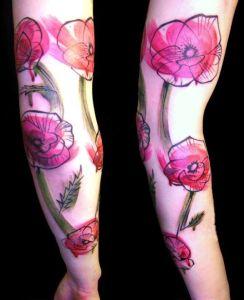 Flores de Amapola con pinceladas