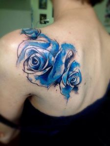 Flor Azul en Acuarelas