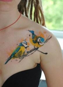 Aves amarillas en Acuarelas by Aleksandra Katsan