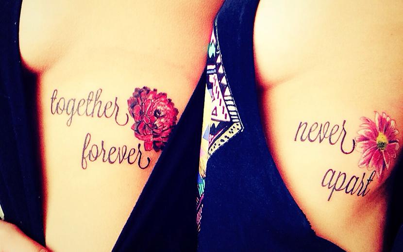Frases Amor Fraternal: Never Apart & Flores