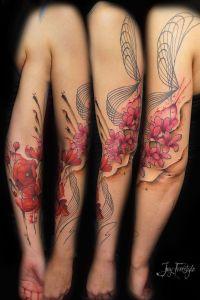 Flores de Amapolas y Cerezo en Acuarelas by Jay Freestyle