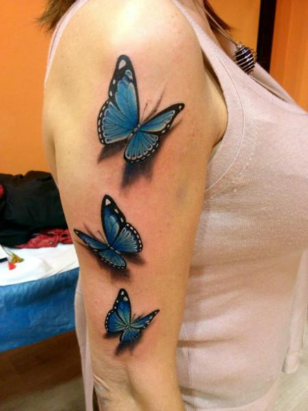 Mariposas azules estilo 3D