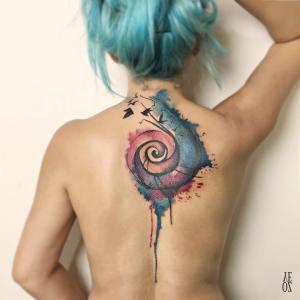 Caracol y Aves estilo Acuarelas por Yeliz Ozcan