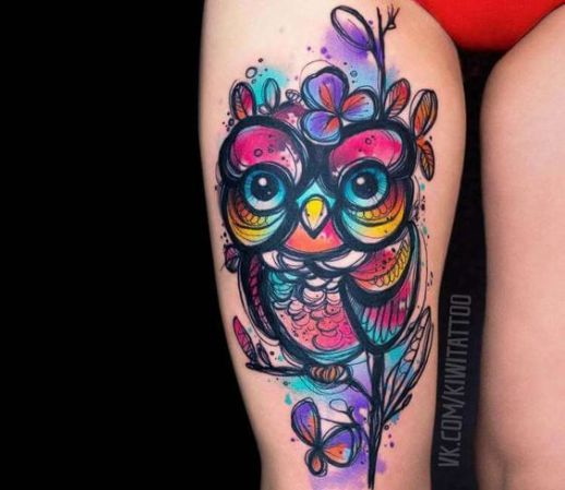 Búho por Вика Kiwi Tattoo