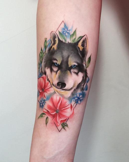 Lobo escondido en las flores por Ksenia Vishnevskaya