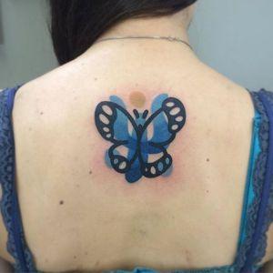 Mariposa azul por Mambo Tattooer