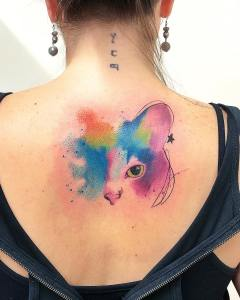 Mirada de gato por LCjunior Tattoo