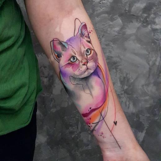 Gato estilo acuarelas por Simona Blanar
