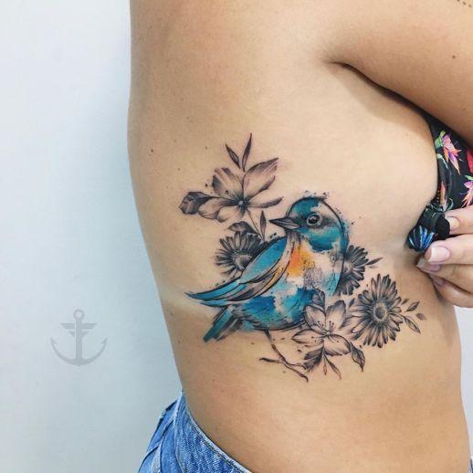 Ave azul y flores por Felipe Bernardes